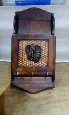 Vintage Wooden Letter Rack And Key Holder African Elephants Design
