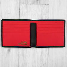 Black and Red Luxury Leather Mens Slim Lando Wallet By Mustard - RRP £20.00