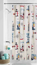 Lighthouse Compass Sailboat Shower Curtain Nautical Fabric Bath Decor