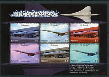 Niue 2007 MNH Concorde Final Flight G-BOAD Heathrow JFK Airport 6v M/S Stamps
