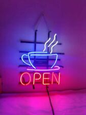 "Neon Light Sign 32""x24"" Coffee Cafe Tea Shop Open Beer Bar Artwork Decor Lamp"
