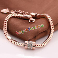 Women Fashion 18K Rose Gold Plated Crystal Bracelet Bangle Trendy Jewelry Gift