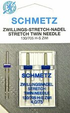 2 Stück Schmetz Stretch Zillingsnadel Twin Nadel 4,0/75 System 130/705