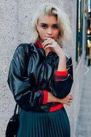 Zara Black Patent Shiny Bomber Jacket Size  M