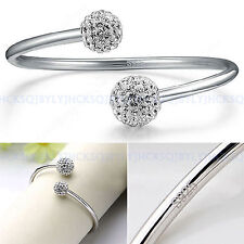 Ladies Jewelry 925 Sterling Silver Balls Opening Bangle Fashion Bracelet Gifts