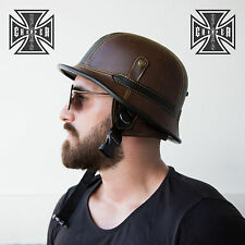 L Harley WWII German Style Motorcycle Half Helmet SkullCap Biker Chopper Novelty