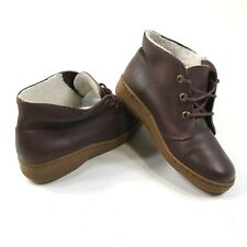 Bates Floaters Pebbled Leather Chukka Boots Wool Shearling Lined Mid Tops 7.5 M