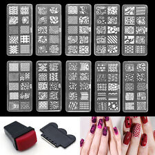 Nail Art Stamp Stencil Stamping Template Plate Set Tools Stamper Design Kit DIY