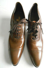 Antique early 1920s women's oxford walking shoes brown leather lace up sz 8?
