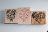 Bundle of 3 pcs BOTANICAL FLORAL HEART Rubber Stamp by PSX - K-663 + Heart