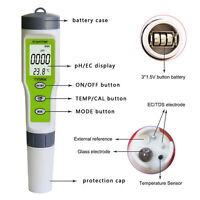 3 in 1 Water Quality Tester Monitor Portable Pen Type pH & EC & TEMP Meter