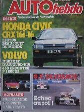 auto-hebdo 1986 HONDA CIVIC CRX / VOLVO 480 ES + P 1800 ES /  G.P FRANCE F1
