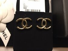 NWT 2017 CHANEL Stud Earrings Logo CC Golden