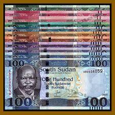 South Sudan 1 5 10 20 25 50 100 Pounds (11 Pcs) Set, 2011/2015 John Garang Unc