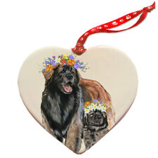Leonberger Dog Porcelain Floral Heart Shaped Ornament Décor Pet Gift