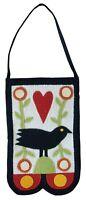 Vintage Folk Art Applique Patch Needlework Felt Bag Pouch Sunflower Bird Crow