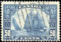"Stamp Canada Used 1929 50c F Scott #158 ""Bluenose"" King George V Scroll"