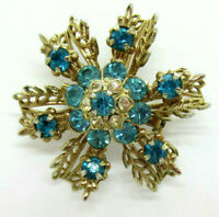 Vintage Aqua Blue & Clear Rhinestones Brooch Pin Gold Tone Metal Snowflake Shape