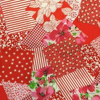 """100 x 4"""" Red Poly cotton Fabric patchwork squares Craft Quilting"""