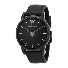 Emporio Armani Classic Black Dial Black Leather Strap Mens Watch AR1732