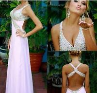 Backless V Neck A-line Chiffon Formal Prom Dress Evening Celebrity Ball Gown