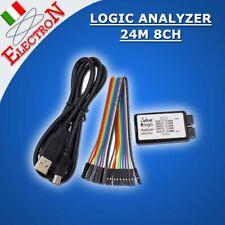 LOGIC ANALYZER 24Mhz 8CH, USB ANALIZZATORE LOGICO DUAL FUNCTION (SALEAE compat.)