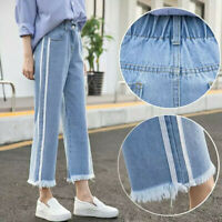 BF Women Denim Casual Wide Leg Boyfriend Stretch High Waist Jeans Pants Trousers