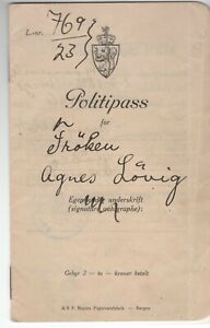 NORWAY: Passport issued by the Police 1923. US revenues inside. Scarce.