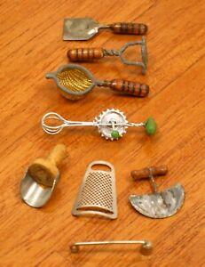 Lot of 8 Wonderful Vintage Artisan Kitchen Tools - Artisan Dollhouse Miniature