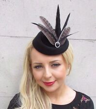 Black Silver Dark Grey Feather Pillbox Hat Hair Fascinator Races Vintage 3312