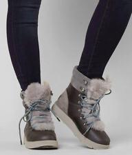 UGG Viki Waterproof GRAY Leather Fur Boots Rain Snow Winter Womens Size 5 NEW