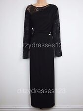 BNWT Definitions Black Lace Draped Sleeve Maxi Dress Size 24 Stretch RRP £62