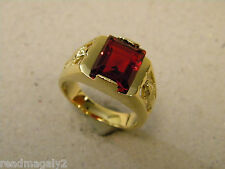 Men's Square Red CZ Stone Yellow Tone Gold Plated Ring Mother Mary Size 12 New