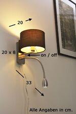 Applique da parete in metallo e tessuto Marrone Con luce da lettura LED 62537