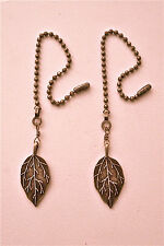 BRONZE LEAVES & BRASS FAN/LIGHT PULL PAIR ~ BEAUTIFUL HANDMADE PAIR!