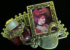 Vintage Style Victorian Brooch Faux Perfume Bottle Ruby Red Glass Chain Wrapped