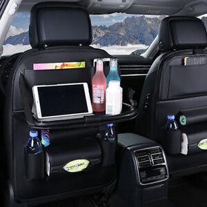 Car Seat Back PU Leather Bag Folding Table Organizer Drink Chair Storage Pocket