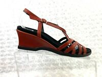 Women's Mephisto Red Leather Strappy Wedge Sandal -Size 8