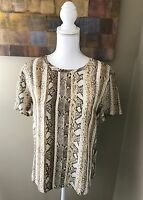 EQUIPMENT silk snakeskin print blouse Women's Sz S High Low Black Beige Tan