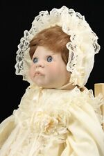 """Lee Middleton First Moments Open Eyes 21"""" Vinyl & Cloth Baby Doll Christening"""