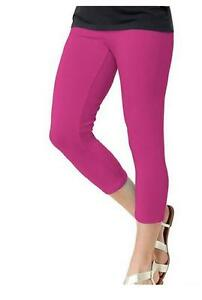 2 PAIR Hanes 0B738 Stretch Cotton Capri Leggings Fuchsia Purple 4-6 Small #1524