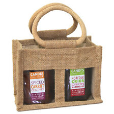 10 x NATURAL 2 JAR JUTE BAGS - Gift Bag for Jams, Chutneys, Pickles & Preserves