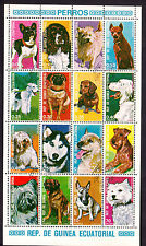 Guinea Equatoriale foglietto da 16 bolli timbro CTO tematica Cani di Razza Dogs