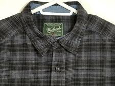 Woolrich Mens Large Shirt Blue Plaid 100% Cotton Button Up Long Sleeve