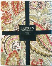 Ralph Lauren Cotton Tablecloth Laveen Paisley Brick Green Brown Natural 70 Rd