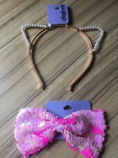 Claires Cat Ears Pearl Headband & Sparkly Hair Bow. New With Tags