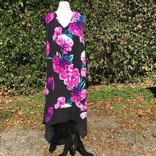 Luxology Womens Midi Dress 3X Stretch Handkerchief Hem Floral Sleeveless V-Neck