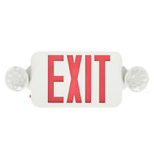 6 Pack Emergency Lights Red Exit Sign w/Dual Led Lamps Dual Heads Schools Safety