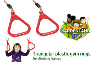 Red triangular gym rings for climbing frames