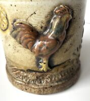 "Vintage Studio Art Pottery Mug Farm Chicken Trees 3-D Stoneware 3"" Thumb Rest"